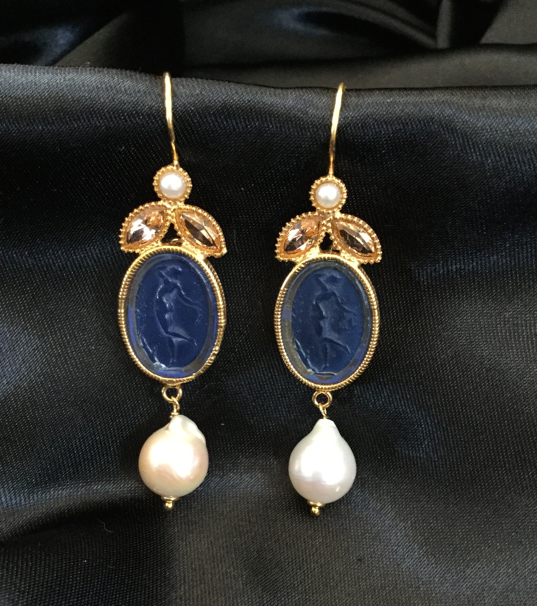 Medium Blue Intaglio Earrings With Pink Stone And Pearl Embellishments
